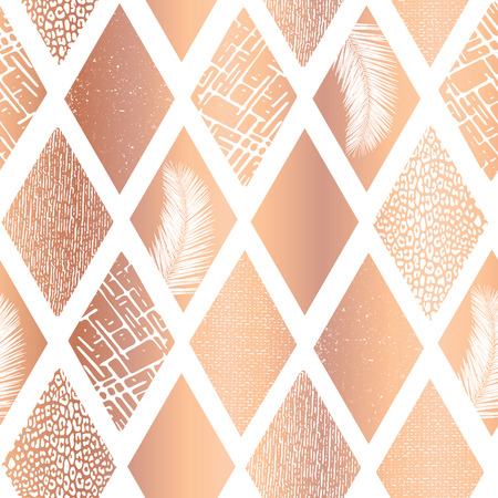 Copper foil collage rhombus shapes seamless vector pattern. Contemporary rose golden abstract background geometric textured shapes. Rhombus shapes with tropical palm leaf, animal skin textures.