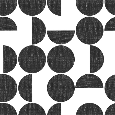 Modern seamless geometric vector pattern semicircles circles grunge texture. Abstract background monochrome screen print style. Trendy art for paper, textile, fabric print, decor, packaging