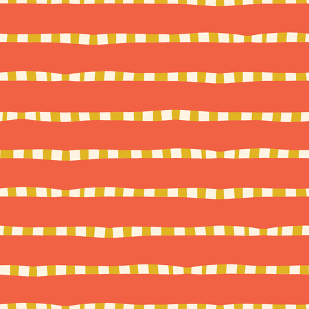 Horizontal hand drawn stripes coral pink yellow gold seamless vector background. Irregular lines repeating abstract pattern. Naive kids style. For kids market, summer spring coordinate, banner, fabric Illustration