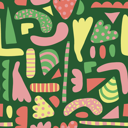 Abstract shapes seamless vector pattern. Simple elements pink, yellow, green background Scandinavian style. Modern happy kids print. Use for girl decor, fabric, paper, poster, packaging, wallpaper,