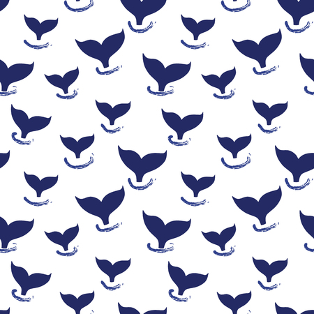 Whale tail seamless pattern vector. Simple Marine background blue and white. Silhouette of whale fin. For fabric, baby clothes, wrapping paper, kids decor, wallpaper