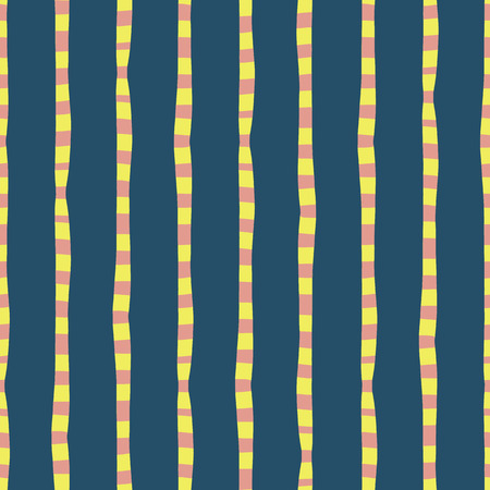 Vertical irregular hand drawn stripes blue pink yellow seamless vector background. Repeating lines abstract pattern. Naive kids style. Use for kids market, summer spring coordinate, banner, fabric