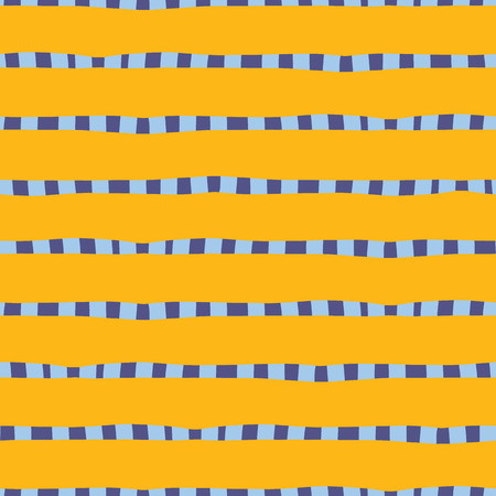Hand drawn horizontal stripes yellow gold blue seamless vector background. Irregular lines repeating abstract pattern. Naive kids style. For kids market, summer spring coordinate, banner, fabric