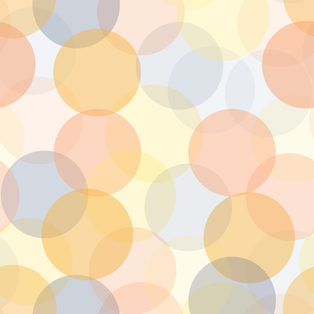 Abstract transparent circles in layers seamless vector background. Modern dots pattern with different opacity levels. Pink, orange, coral, blue subtle  geometric backdrop.