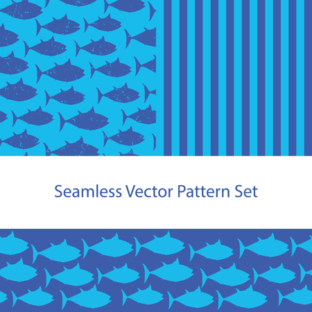 Fish silhouette vector pattern set. Seamless background, border and coordinate. Nautical Drawn Animal Illustration distressed vintage style. For Fabric, Summer Scrapbooking, Gift Wrap, Kids Fashion .