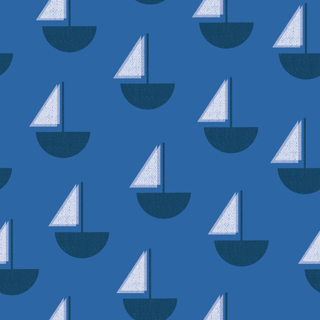 Sailboats blue and white seamless vector pattern. Vintage Screen print texture boats. Contemporary Art Deco background. Simple nautical backdrop.