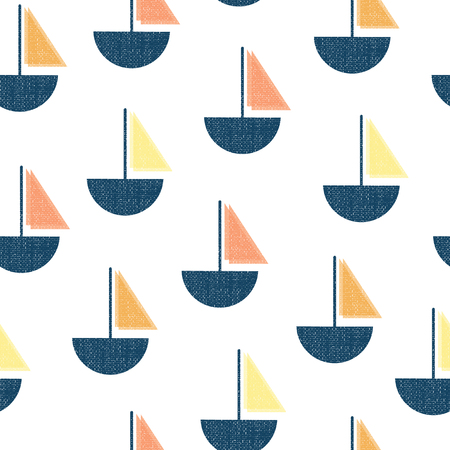 Seamless vector pattern boats. Vintage Screen print texture sailboats blue, orange, coral yellow on white background. Nautical design for fabric, home decor, wallpaper, nursery, digital paper. Çizim