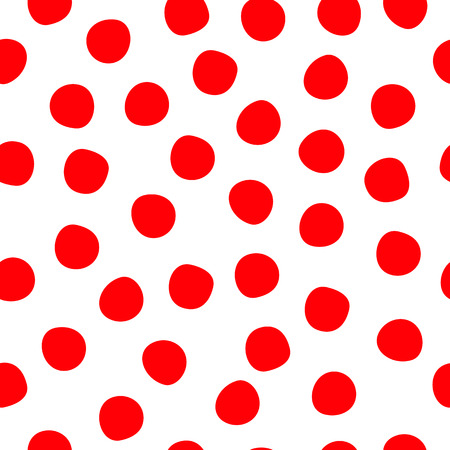 Hand drawn polka dots red on white seamless vector background. Red circles repeating pattern. Cute backdrop. Use for invitation, celebration, card, banner, birthday, party, kids, decor. Çizim