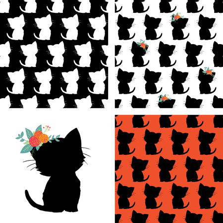 Set of seamless cat pattern and kitty silhouette black white red. Repeating vector animal background. Kitten with flowers on head isolated. For kids room decor, children fabric,  girl decoration card Illustration