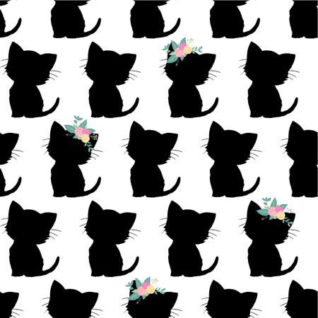 Seamless vector pattern with cute black cat silhouettes on black background. Monochrome kids design. Kitten with flowers on head. For kids room decor, children fabric,  girl decoration card, nursery
