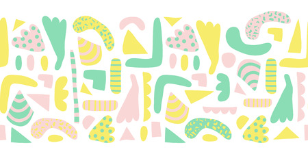 Seamless horizontal border modern abstract shapes vector. Pattern of simple elements green, yellow, pink background. Scandinavian style. Modern happy kids print for girl decor, fabric, banner, Easter.