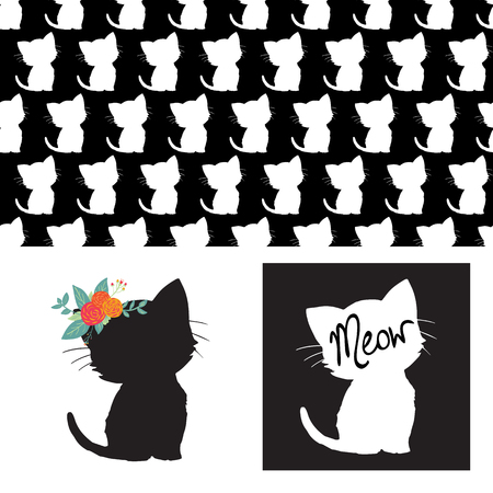 Cute cat silhouettes isolated vector illustration set. Repeating seamless animal pattern black white. Kitten with flowers on head. For kids room decor, children fabric,  girl decoration card, nursery