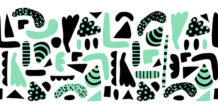 Horizontal seamless vector border modern abstract doodle shapes. Pattern simple elements green and black background. Scandinavian style. Modern happy print for home decor, kids fabric, banner, ribbon