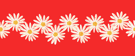Daisy flowers seamless vector border. Distressed white vintage Chamomile flowers on red endless pattern. Contemporary seasonal ditsy floral repeat tile. Hand drawn retro design for cards, ribbons Illustration