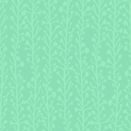 Subtle nature background. Seamless vector pattern of abstract plants in green hues. Branches and leaves growing in vertical direction. Simple foliage texture for fabric, page fill, banner, decoration.