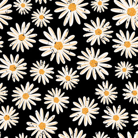 Vintage Daisy flowers seamless vector pattern. Distressed white Chamomile flowers on black background. Contemporary seasonal ditsy floral repeat tile. Hand drawn retro design for fabric, decor, paper.