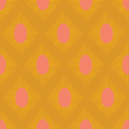 Modern Ikat seamless vector pattern gold yellow pink. Abstract rhombus shapes repeating background. Illustration