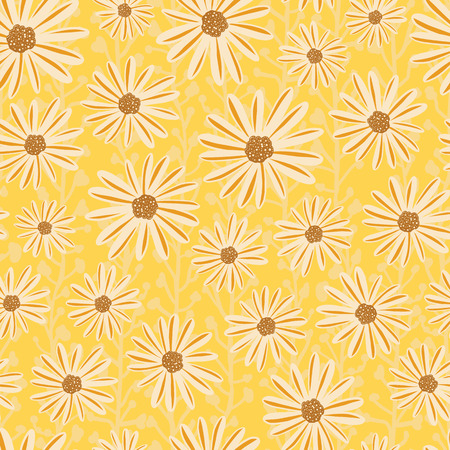 Chamomile flowers seamless vector repeat pattern. White Daisy flowers on yellow background. Contemporary seasonal ditsy floral repeat tile. Hand drawn retro design for summer fabric, decor, paper. Illustration