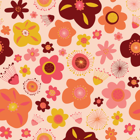 Doodle flowers seamless vector pattern background modern Illustration