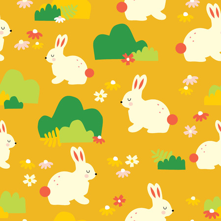 Cute bunny vector pattern. Seamless background white bunnies on a flower meadow. Scandinavian style mustard gold yellow. Use for Easter, kids decor, fabric, children wear, surface pattern design