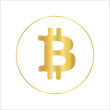 Bitcoin icon in metallic gold foil design. Vector crypto currency symbol.