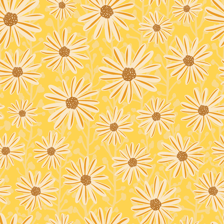 Chamomile flowers seamless vector repeat pattern. White Daisy flowers on yellow background. Contemporary seasonal ditsy floral repeat tile. Hand drawn retro design for summer fabric, decor, paper. 矢量图像