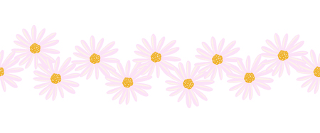 Aster flowers seamless vector border. Illustrated Daisy flowers pink endless pattern. Contemporary seasonal ditsy floral repeat tile. Hand drawn floral border for cards, summer decor, ribbons, fabric.