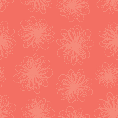 Red florals texture seamless vector background. Repeating pattern of abstract flowers in coral red pink hues. Subtle foliage texture for summer fabric, page fill, web backgrounds, home decor, banner.