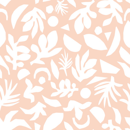 Subtle pink and white floral background vector. Feminine Seamless surface pattern design. Abstract flower elements paper collage illustration. Scandinavian flat nature design for fabric, cards, decor