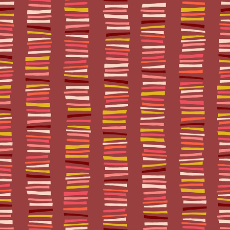 Feminine abstract seamless vector background. Vertical stripes pattern. Childish abstract colorful doodle background. Pink, orange, red, coral, gold, yellow geometric kids design. Foto de archivo - 123084748