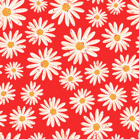 Daisy flowers seamless vector background. Distressed white vintage Chamomile flowers on red pattern. Contemporary seasonal ditsy floral repeat tile. Hand drawn retro design for fabric, decor, paper.
