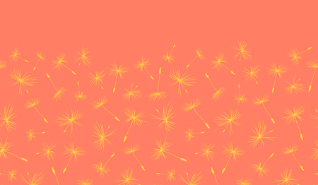 Dandelion seeds seamless vector border repeat yellow on coral pink. Flying flower seeds on a bright yellow. Repeating summer pattern for web banner, ribbon, cards, packaging, summer party invitation