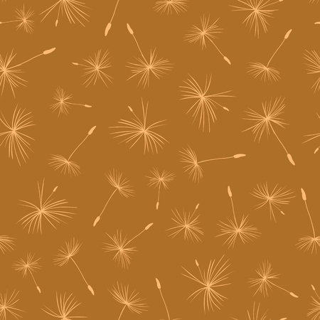 Dandelion seeds on brown background seamless vector pattern. Flying flower seeds brown hues. Repeating autumn fall background. Use for web banner, fabric, paper projects, packaging, party invitation
