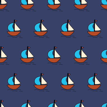 Sailboats seamless vector background. Summer pattern kids. with blue white and brown sailing boats. Ocean themed nautical design. Use for fabric, childrens decor, packaging, cards, wallpaper
