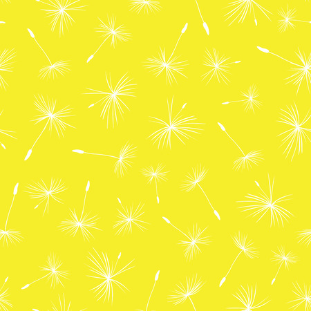 Dandelion seeds seamless vector pattern yellow. Flying flower seeds on a bright yellow. Repeating summer background. Use for web banner, fabric, paper projects, packaging, party invitation 矢量图像