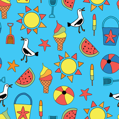Kids summer icons seamless repeating background blue
