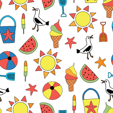 Summer objects seamless vector pattern. Sand bucket, shovel, ice cream cone, watermelon, ball, seagull, starfish background. Ilustração