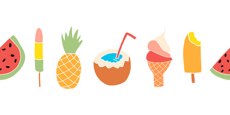 Summer treats seamless vector border. Repeating banner design with watermelon, pineapple, coconut, ice cream cone
