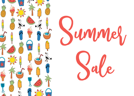 Sale banner vector with summer icons pattern. Watermelon, pineapple, coconut, ice cream cone, palm tree, seagull, flipflop sandal, sunscreen Standard-Bild - 122696780