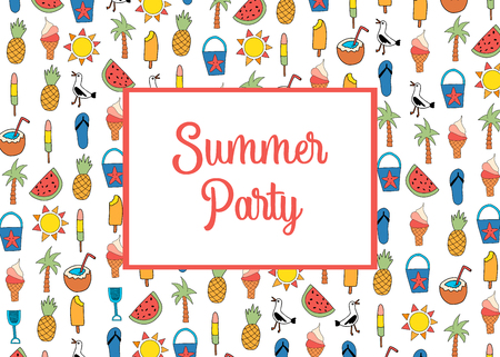 Summer party invitation card template vector with summer icons pattern. Watermelon, pineapple, coconut, ice cream cone, palm tree, seagull, flipflop sandal, sunscreen Illustration