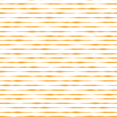 orange yellow hand drawn horizontal stripes seamless vector background on white. Seamless surface pattern design. Irregular striped texture. Use for banners, cards, fabric, coordinate, decor Illustration