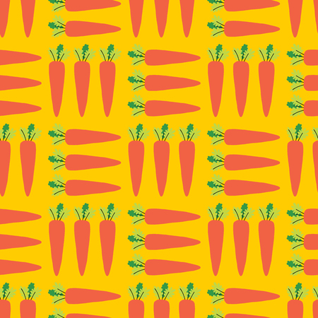 Carrots seamless vector pattern. Vegetable field background. Healthy food design for restaurant, menu decoration, food packaging, kids decor, smoothie