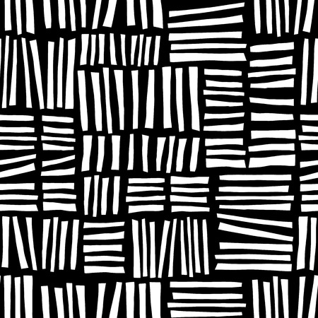 Monochrome hand drawn blocks seamless vector abstract background black and white. Geometric doodle pattern for web banners, packaging, kids decor, fabric