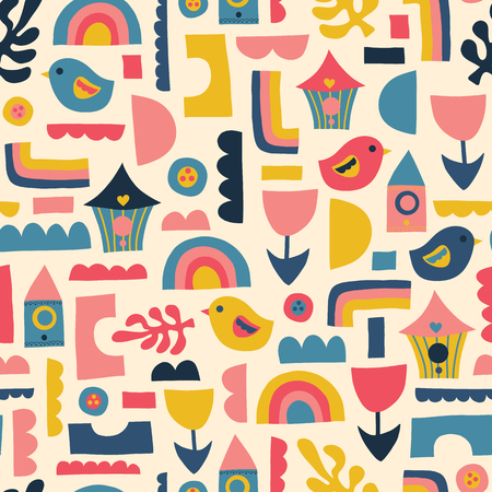 Scandinavian kids pattern birds rainbows and shapes. Seamless vector background. Blue pink yellow flat style childish backdrop. Use for kids fabric, banner, nursery decor, wallpaper, packaging