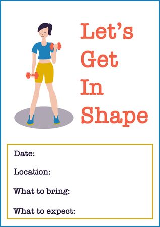 Sport event invitation poster template. Women Fitness class vector illustration of woman weightlifting dumbbells. Motivational poster or flyer for gym event, fitness center Illustration