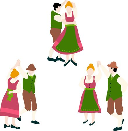 Oktoberfest Bavarian dancing couple vector illustration icon set. Bavarian traditional dance drawing. For Oktoberfest party invitation, card, poster, decor, banner, packaging, decor, flyer