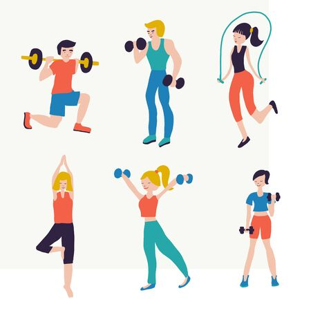 Vector illustration set people fitness workout exercises. Sport club gym body-building powerlifting health training dumbbells barbell yoga jump rope. Healthy lifestyle. Crossfit isolated flat icons