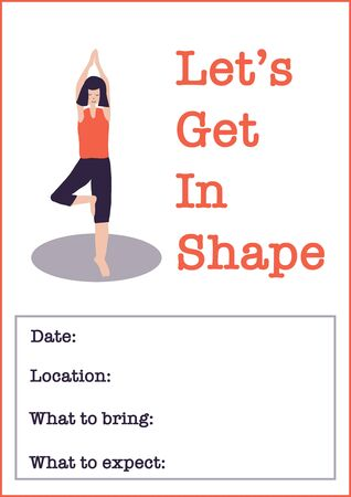 Motivational Yoga class poster template. Women Fitness class vector illustration of woman doing yoga tree pose. Sport event invitation. Motivational poster or flyer for gym event, fitness center