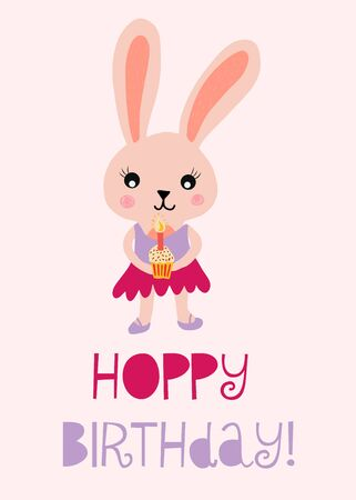 Happy birthday bunny cute vector illustration for kids birthday card. Hoppy birthday with rabbit holding a cupcake with a candle