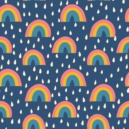 Scandinavian style rainbows and raindrops seamless vector pattern kids
